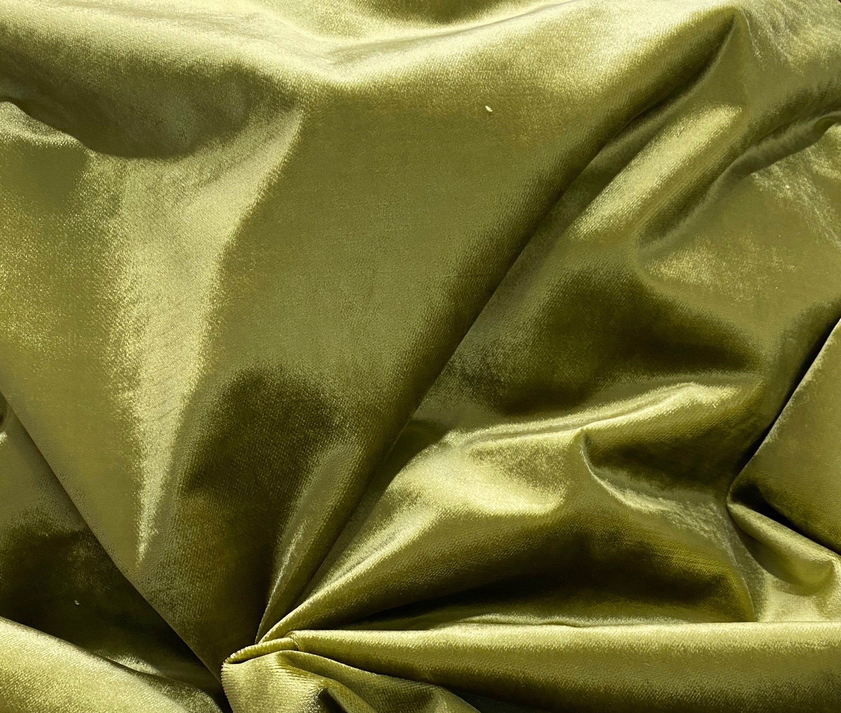 2 Yard Remnant: Designer Made In Belgium Upholstery Velvet Fabric- Green Yellow