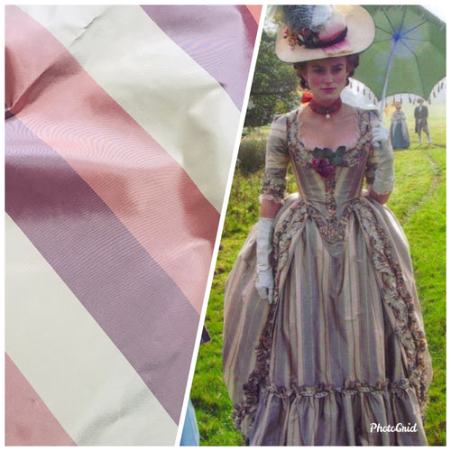 NEW Designer 100% Silk Taffeta Ecru, Purple, & Mauve Stripes