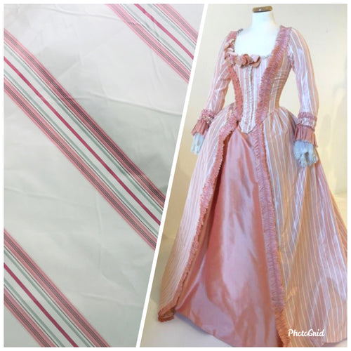 NEW 100% Silk Taffeta Striped Ivory and Pink