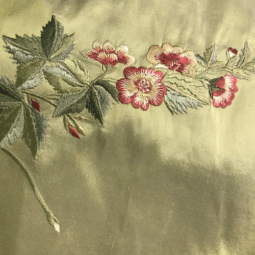 NEW Designer 100% Silk Dupioni - Green with Embroidered Floral Motif