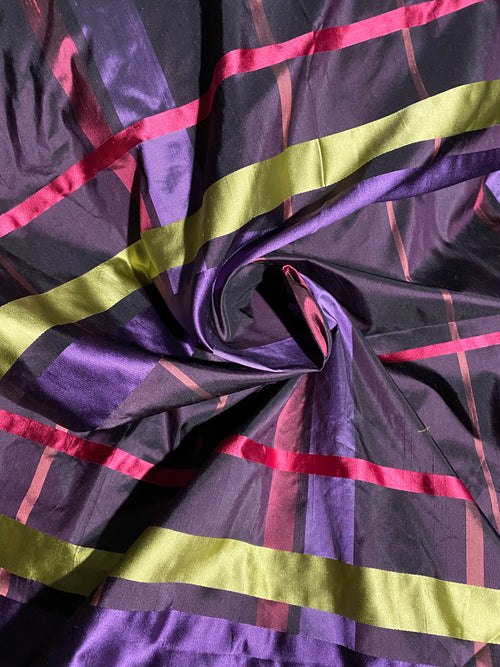 NEW Designer 100% Silk Dupioni Plaid Tartan Ribbon Fabric Purple