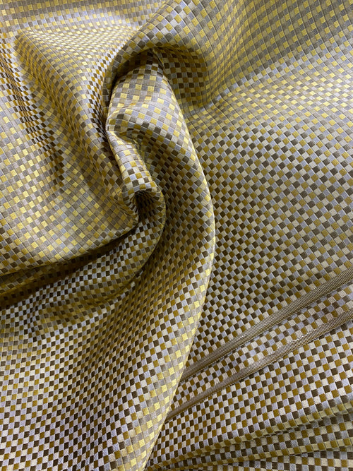 NEW Queen Alyssa 100% Silk Taffeta Basketweave Motif Fabric - Yellow