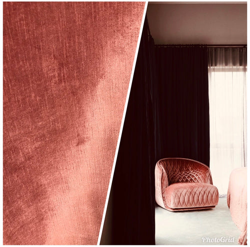 NEW Designer Velvet Upholstery Fabric - Sienna Pink- By the yard - Fancy Styles Fabric Boutique