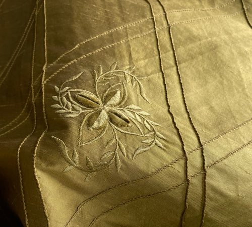 NEW! SALE! 100% Silk Dupioni Diamond Fabric - Velvet Floral Embroidered Gold