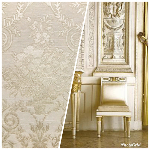 NEW Designer Brocade Satin Fabric - Cream Neoclassical Floral Upholstery Damask