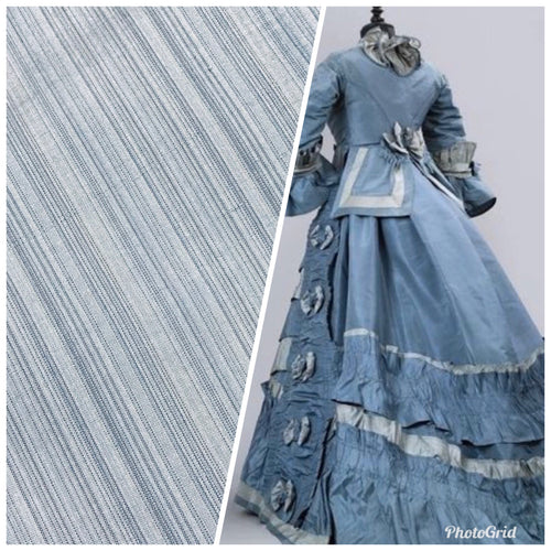 NEW Designer 100% Silk Taffeta Subtle Pastel Blue Stripes