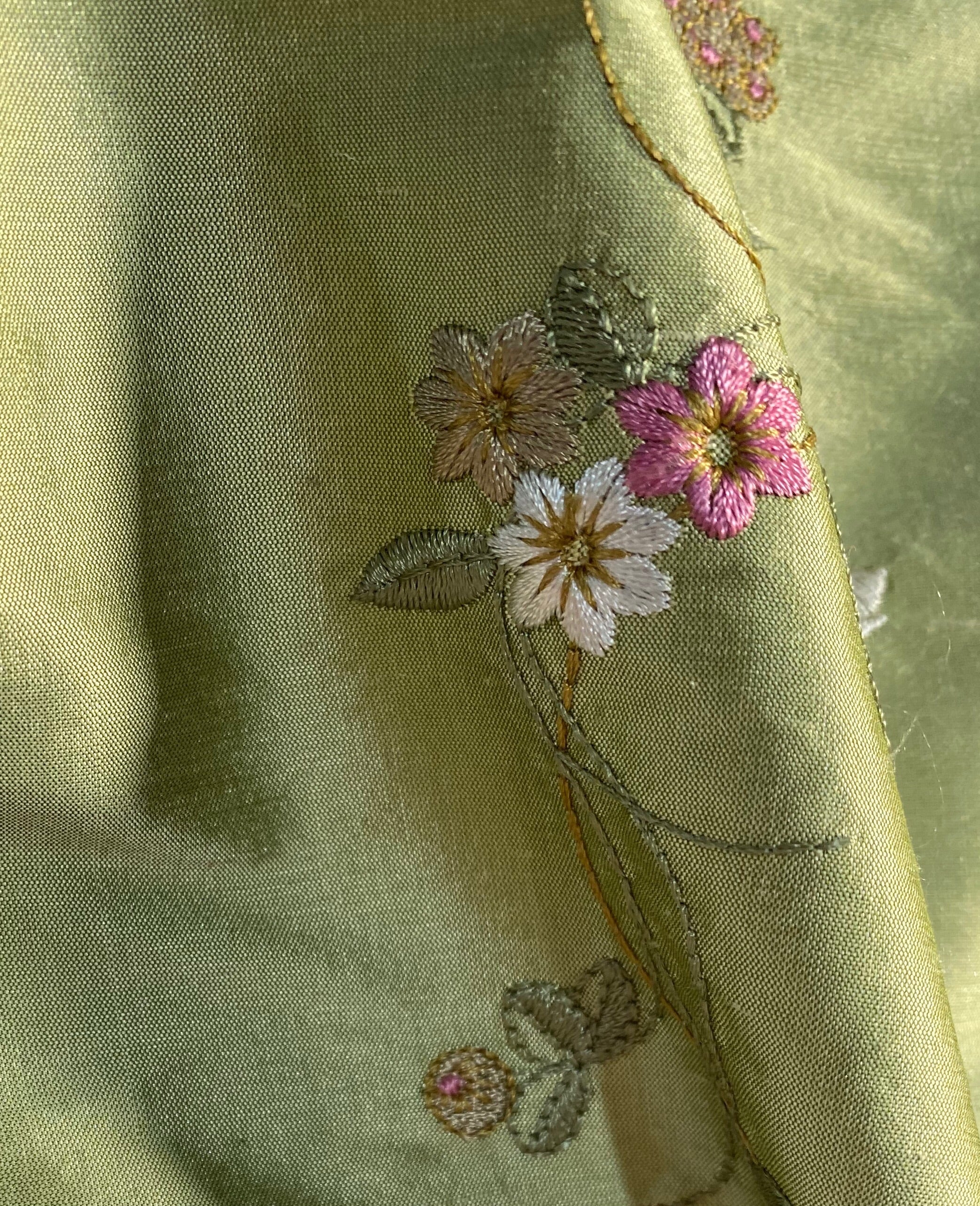 NEW Designer 100% Silk Dupioni - Pistachio Green with Floral Embroidery Vines