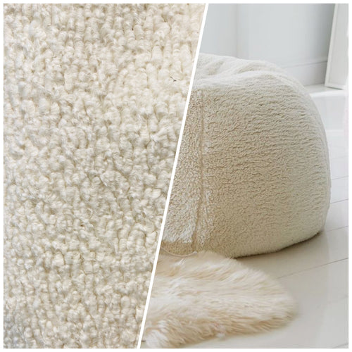 NEW Designer Upholstery Sherpa Faux Fur Fabric - Cream White