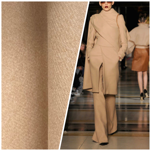 NEW Designer Imported From Italy 100% Camel Hair Woven Fabric- Color: Beige