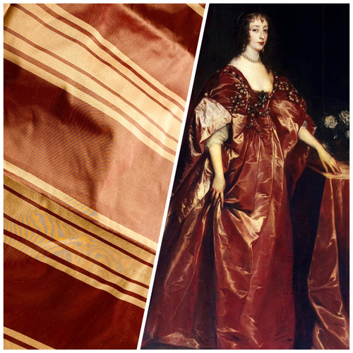 NEW Designer 100% Silk Taffeta Fabric -Cinnamon Red & Gold Stripes