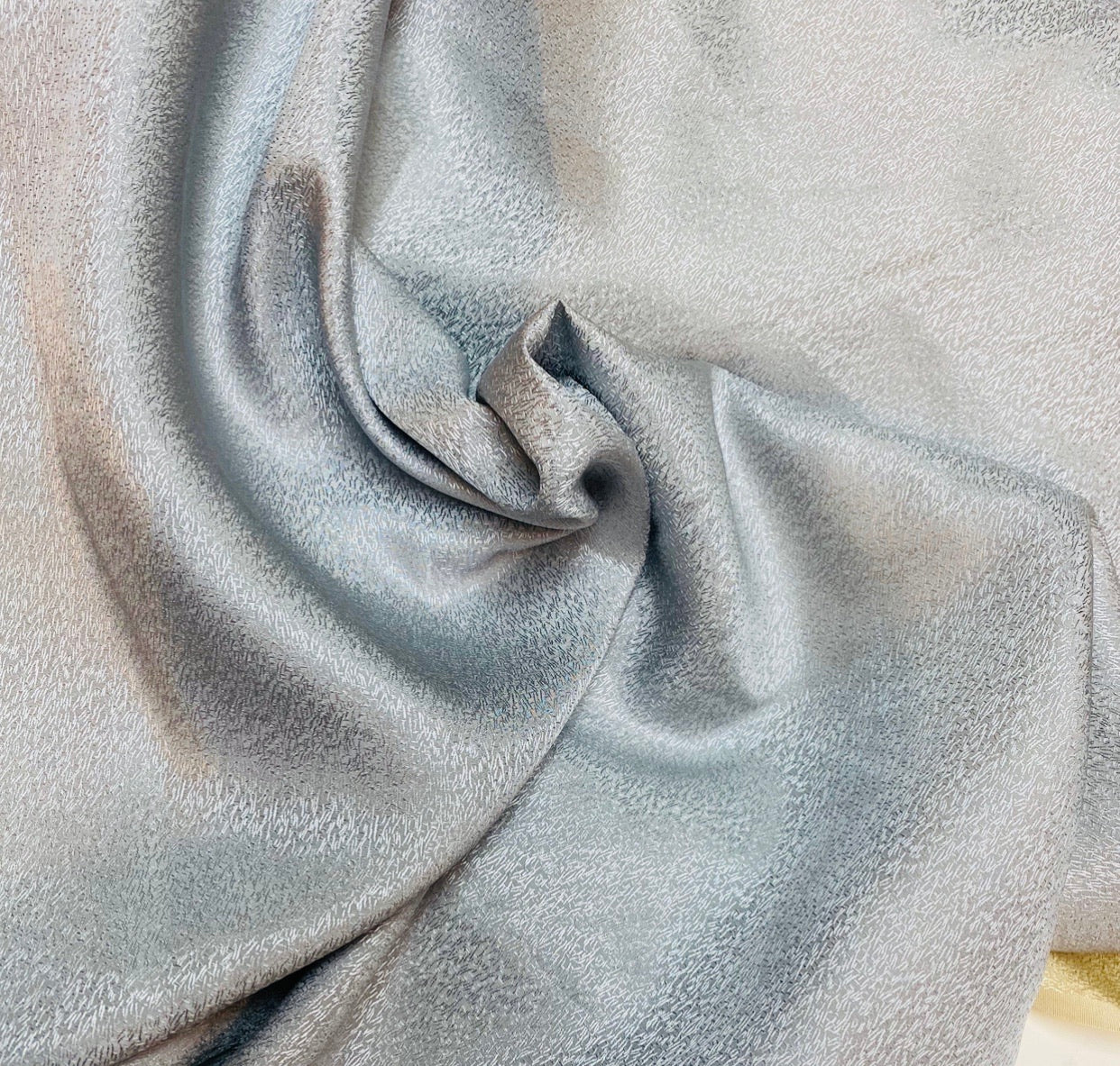 NEW Designer 100% Silk Textured Silver Charmeuse Fabric
