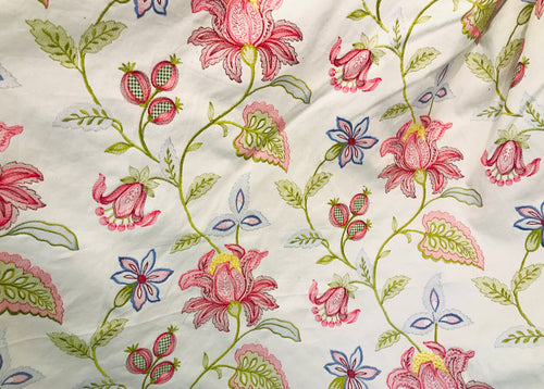 NEW Designer Novelty Cotton Aubusson Embroidered Floral Fabric