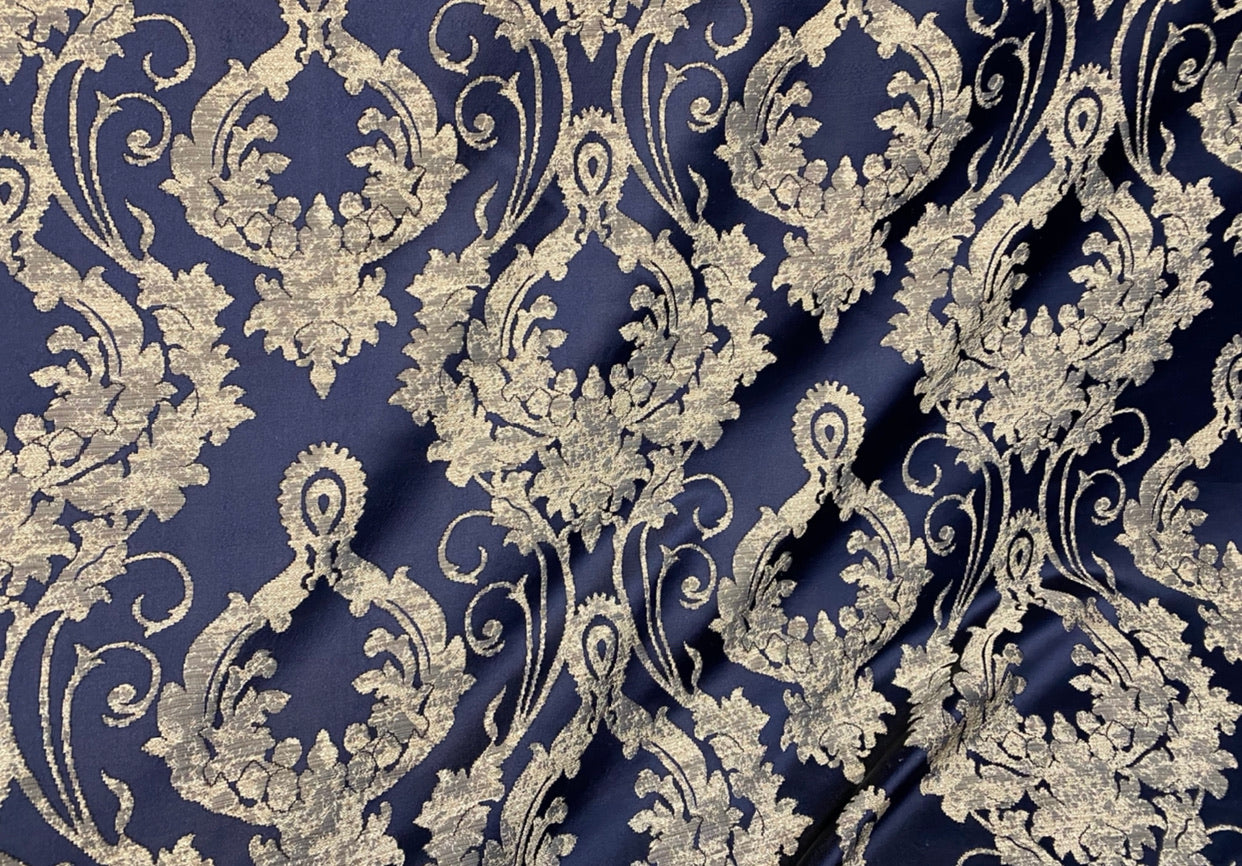 NEW Lord Tustin Brocade Upholstery & Drapery Satin Damask Fabric - Navy Blue