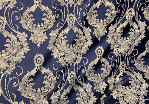 NEW Brocade Upholstery & Drapery Satin Damask Fabric - Navy Blue