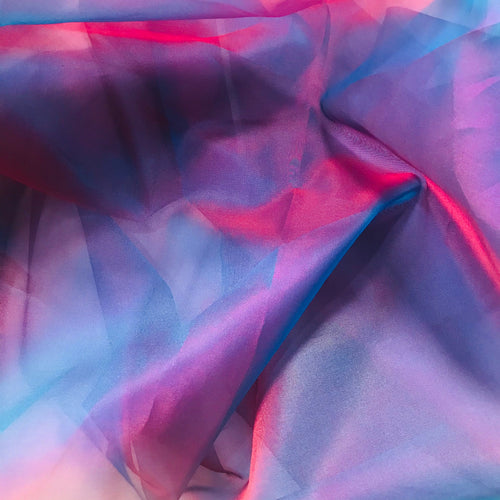 NEW 100% Silk Organza Jewel Blue & Magenta iridescence