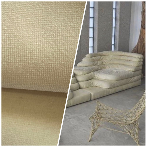 NEW! Prince Oliver Designer 100% Cotton Made In Belgium Upholstery Velvet Fabric Frosty Parchment