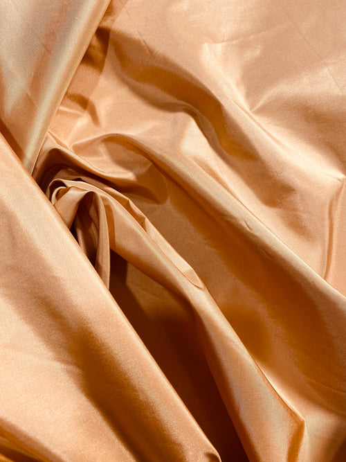 NEW Designer 100% Silk Taffeta Fabric -Solid Salmon Peach