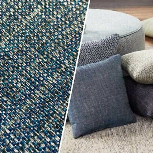 NEW Two-Tone Upholstery Tweed Texture Nubby Fabric -Blue & Dark Blue