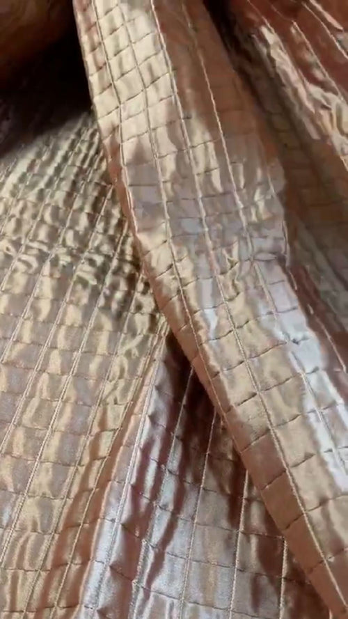 NEW 100% Silk Designer Rose Gold Quilted Fabric