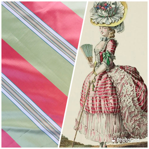 NEW 100% Silk Taffeta Embroidered Fabric - Pink And Green Stripe