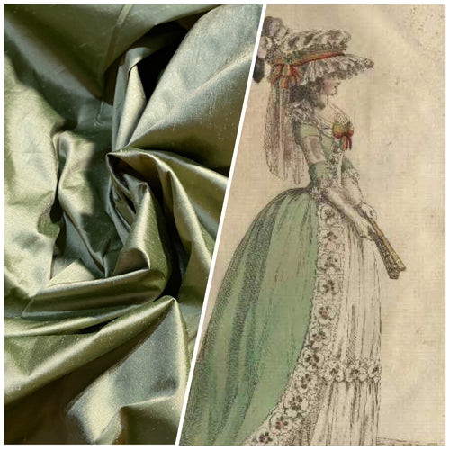 NEW Duchess Mable Designer 100% Silk Dupioni Fabric in Solid Dusty Pistachio