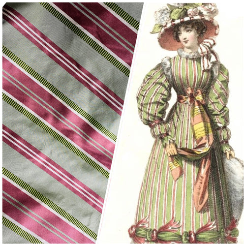 NEW Designer 100% Silk Taffeta Fabric in Pink Green Stripes