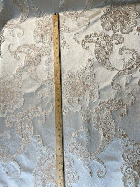 SALE! Designer Brocade Satin Fabric- Antique Pink On Ivory - Upholstery