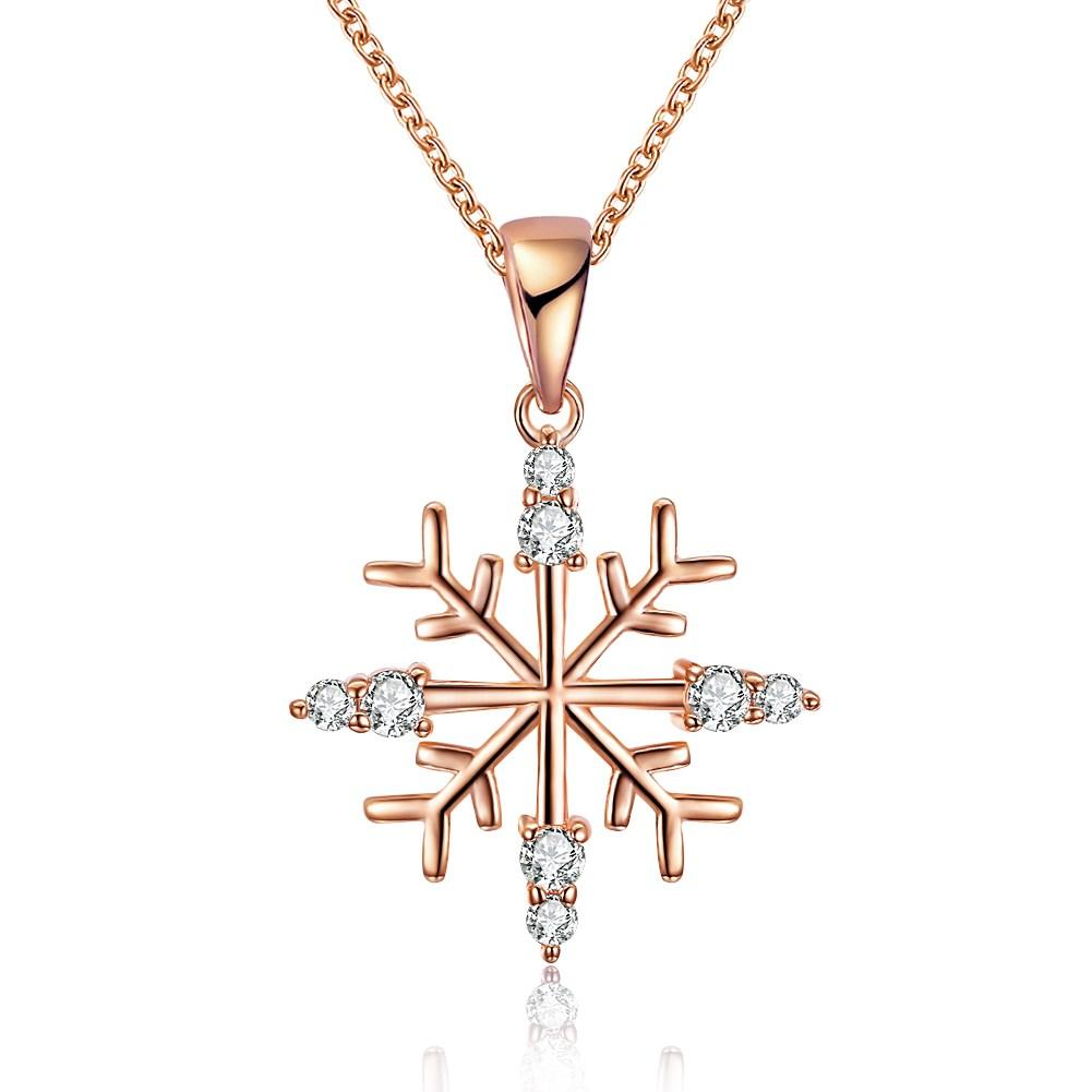 Beautiful Christmas Snow ornaments Joyner zircon necklace simple Snowflake Necklace 18 inch double color - Livingaffiliate