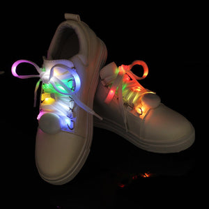 1 Pair 125cm LED Glowing Shoelaces, Multicolor Flashing Luminous Fun Shoelaces Outdoor Party Supplies Shoestrings - Livingaffiliate