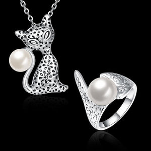 Pearly Cats of two pieces of Pearl Cats Set Necklace and ring suit for women's white gold - Livingaffiliate