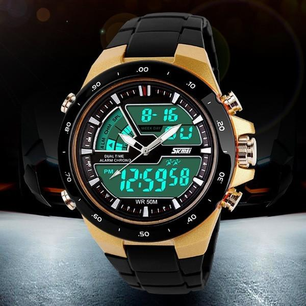 Men's Dual Time Zones Multifunctional Analog-Digital Plastice Band Sporty Wrist Watch - Livingaffiliate