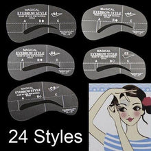 24 Styles Eyebrow Grooming Stencil Kit Template Shaping Shaper DIY Tools - Livingaffiliate