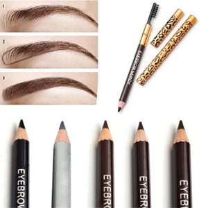 Double-headed leopard eyebrow pencil waterproof brush with eyebrows do not blooming soft and lasting - Livingaffiliate