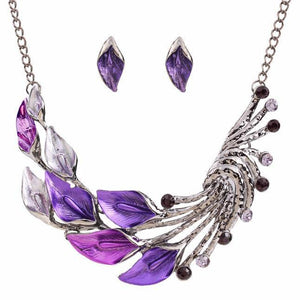 Elegant Women's Purple Peacock Enamel Festoon Bib Necklace Stud Earrings Set - Livingaffiliate
