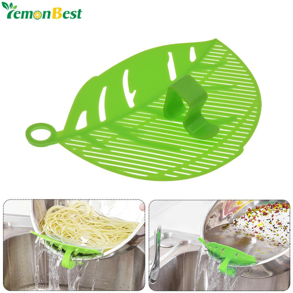 One P.C Leaf Shape Durable CleanDiain Noodles Rice Wash Sieve Beans Peas Cleaning Gadget Kitchen Clips Tools Practical Plastic Kitchen Sieve Tool - Livingaffiliate
