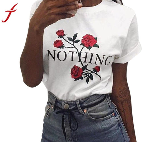 Nothing Letters Printing  On T Shirt high quality  Best Of 2018 Summer Womens Rose Printing Loose Tops Short-Sleeved Cotton White Shirt - Livingaffiliate