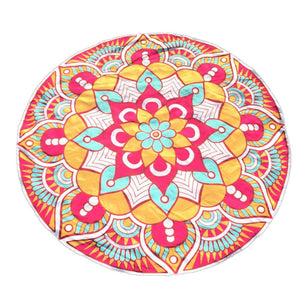 Round Printing Hippie Tapestry Beach Picnic  Travel Throw Yoga Round Mat Towel Blanket - Livingaffiliate