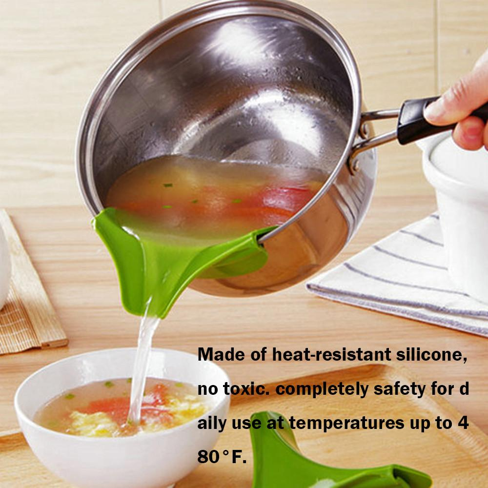 New Best 2018 Silicone Anti-Spill Drain Pans Round Hole Deflector Liquid Soup Kitchen Mouth Diversion Cooking Tools - Livingaffiliate