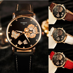 UNISEX Fashion Yazole Butterfly Flower Leather Quartz Wedding Wristwatches - Livingaffiliate