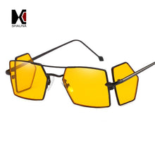 SHAUNA Best Summer Unique Double Lens Women Square Sunglasses Retro Folding Punk Styles Men Clear Yellow Lens Goggle Glasses  UV400