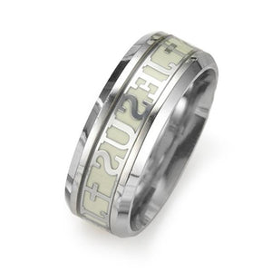 Luminous Jesus Christ Ring Stainless Steel Cross Ring Glowing In The Dark Jewelry - Livingaffiliate