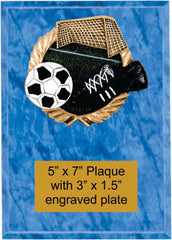 Plaque with soccer plaque mount and engraved plate.