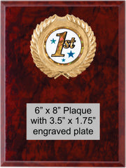 Marble Finish plaque with 1st place plaque mount and engraved plate.