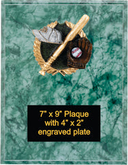 Green Marble Finish Plaque with baseball plaque mount.