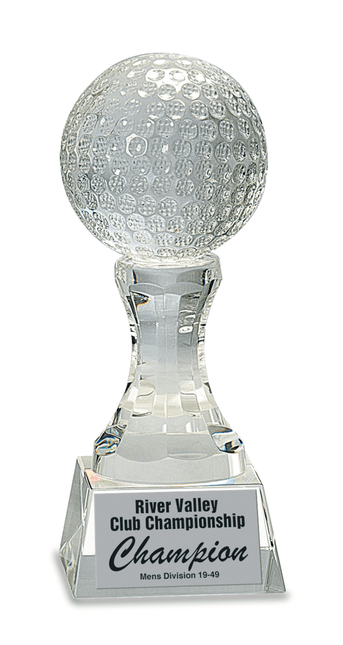 "7 3/4"" Crystal Golf Ball on Clear Pedestal Base"