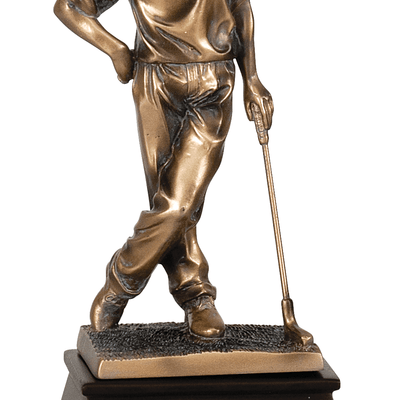 "9"" Bronze Standing Male Golf Resin Figure"