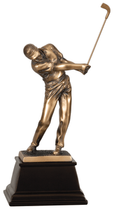 "8 3/4"" Bronze Male Golf Resin Award"