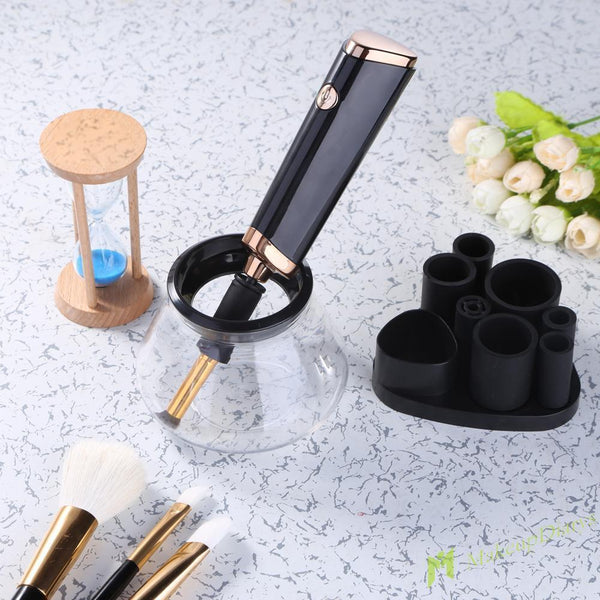 Electric Makeup Brush Cleaner Spinner Machine Tool - Wrinse™  Makeup Brush Cleaner Black Wrinse™ Makeup Brush Cleaner Hourglassify®