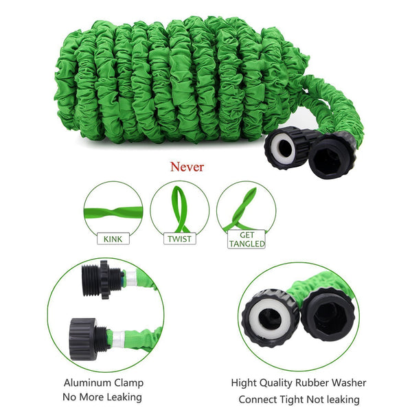 Expandable Garden Hose Retractable Collapsible Water Shrinking Hoses Garden Hoses & Reels 100 ft Pipezy™ Hourglassify®