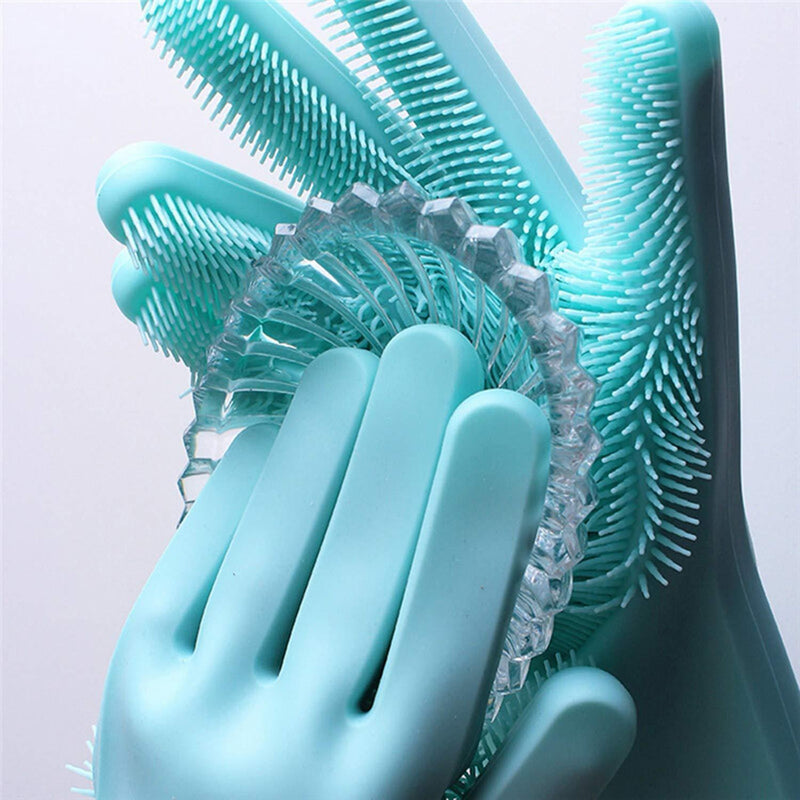 Silicon Scrubbing Sponge Gloves Dish Washing Scruves™  Household Gloves Green Scruves™ Hourglassify®